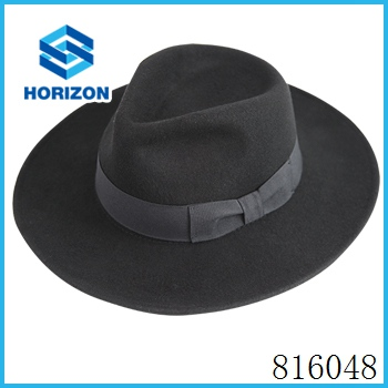 Promotional felt cowboy hat with leather and feather decorated cowboy hat
