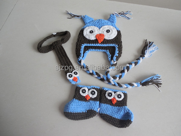 Manufacture crochet baby night owl outfits for photography.crochet costumes for babies