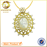 gold plated zirconia pendant brazil jewelry mother of pearl joyas de plata 925