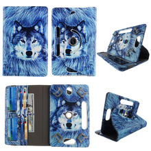 Wolf HD Print Design Universal 360 Rotary PU Leather Folio Stand Shockproof Flip Tablet Case