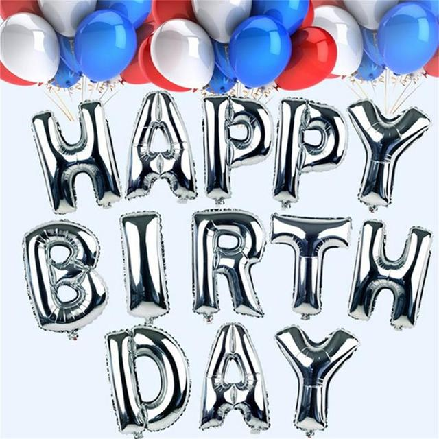 1pc 16'' Sliver Alphabet Letters Number Helium Balloons Birthday New Year Foil Balloon Party Wedding Decoration Aluminium Ballon