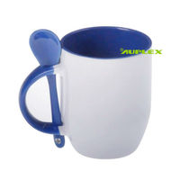 Inner Colorful Mug with spoon in handle sublimation Ceramic Coffee Mug with Spoon Holder (M-SF)