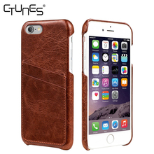 Genuine Slim Custom PU Leather Back Case Cover Skin With Credit Card Holder For iPhone 7