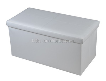 Long Faux Leather Folding Storage Ottoman Mordern Storage Ottoman Colorful Storage Ottoman