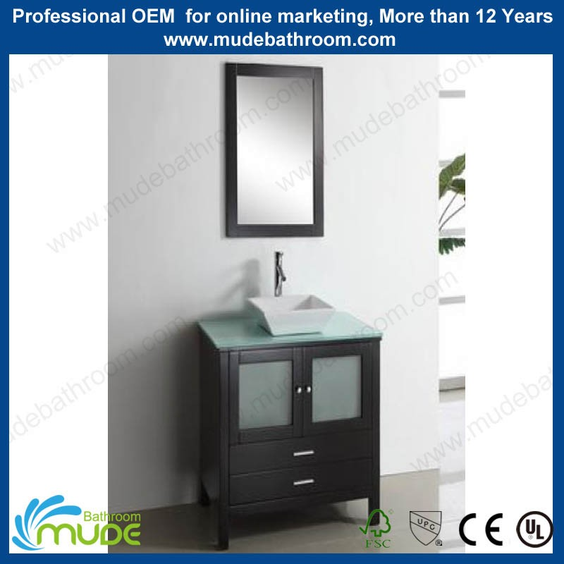 Modern Furniture Single floor Mounted 24 inch glass countertop ceramic bowl wooden bathroom vanity