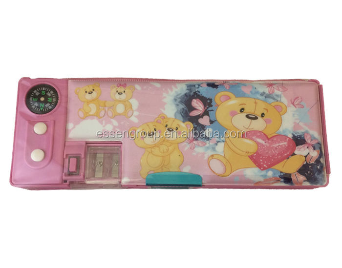 hot selling and fashion design cute kids magnetic pencil box