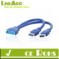 Linkacc-ItN3 USB 3.0 Male Ports to Motherboard Box Header Adapter Dual A male to 20 PIN male Cable