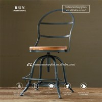 American Country Style Wrought Iron Dining Chair Restaurant Chair Swivel Bar Stool