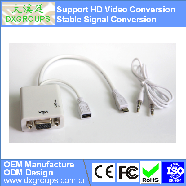Micro USB MHL to VGA Female Adapter Cable with Audio For Samsung Galaxy S2 For HTC (5 Pin HD Video Conversion)