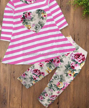2018 best selling heart printing frocks dress top and flower pants 2 piece boutique outfits wholesale baby clothes