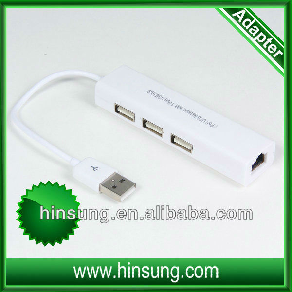 high quality!!! 3 ports usb hub+usb 2.0 lan adapter for android