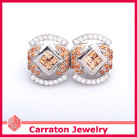 wax setting 925 sterling silver jewelry champagne cz stone earrings