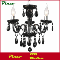 "14"" Victorian Traditional Crystal Round Mini Chandelier Jet Black Tear Drops Crystals 3 Lights"