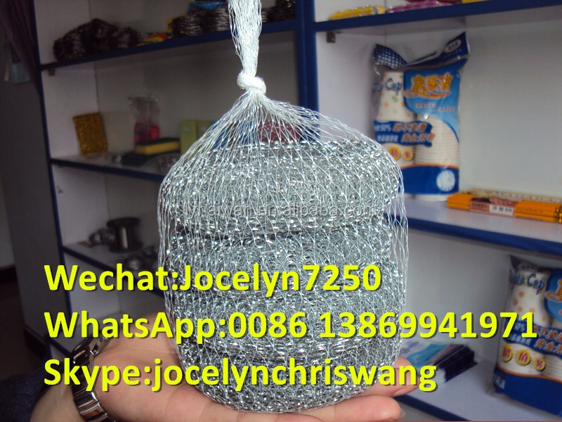 0.2mm stainless steel wire mesh scourer/galvanized wire scrubber cleaning balls with high quality