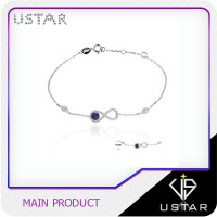 Personalized name design 925 Sterling Silver Bracelet with bule cz stone