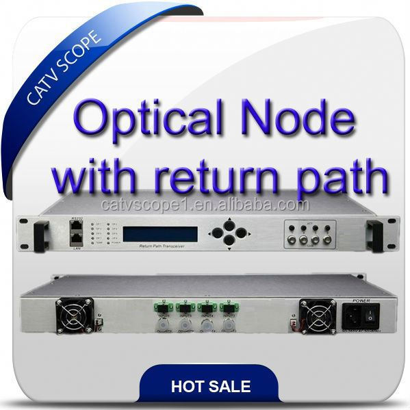 Optical fiber return path receiver/CMTS system 4 way optic node