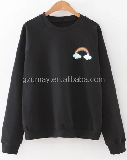 Online Shopping Ladies Fashion Clothing S M L XL XXL 3XL 4XL Black Raglan Sleeve Pullover Sherpa Fleece Rainbow Print Sweatshirt