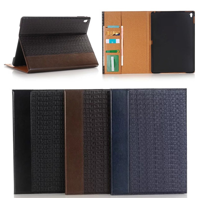 crocodile leather case for ipad pro with wake up /sleep function , for ipad pro 9.7 stand case
