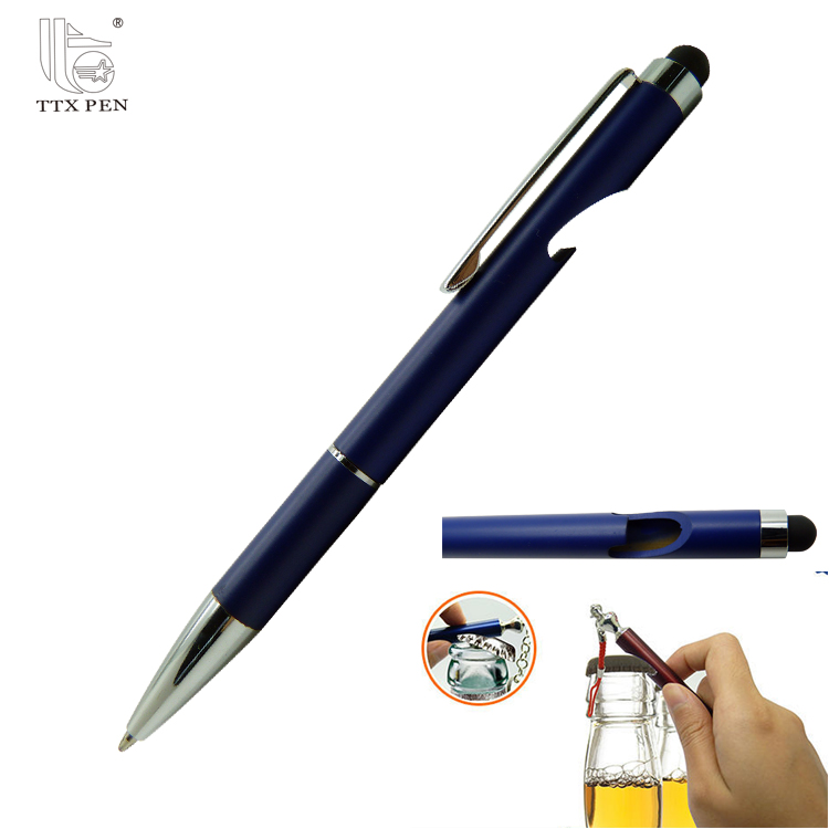 Unique design beautiful metal function ball pen with bottle opener