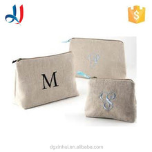 Promotion high quality recyclable of clutch Jute Cosmetic bag with zipper for lady