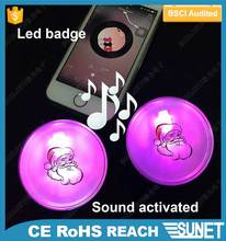 SUNJET new products sound activated pin button badge materials