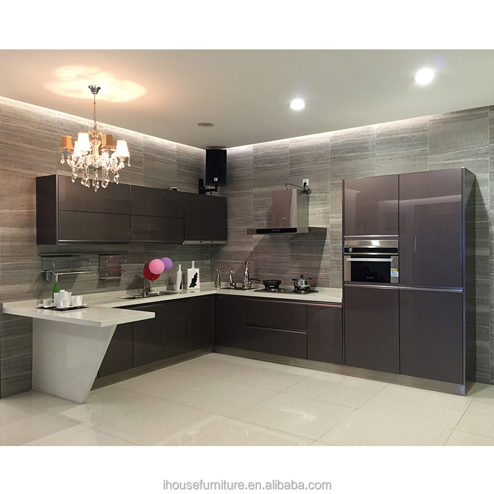 Guangdong China Hot Wholesale Tempered Glass Prefab Kitchen Cabinet Design Ideas/Glass Cabinets For Kitchen