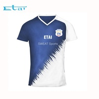 Custom Cheap Plain Sweat Sports Jersey Dry Fit Sublimation V-neck Football Shirt