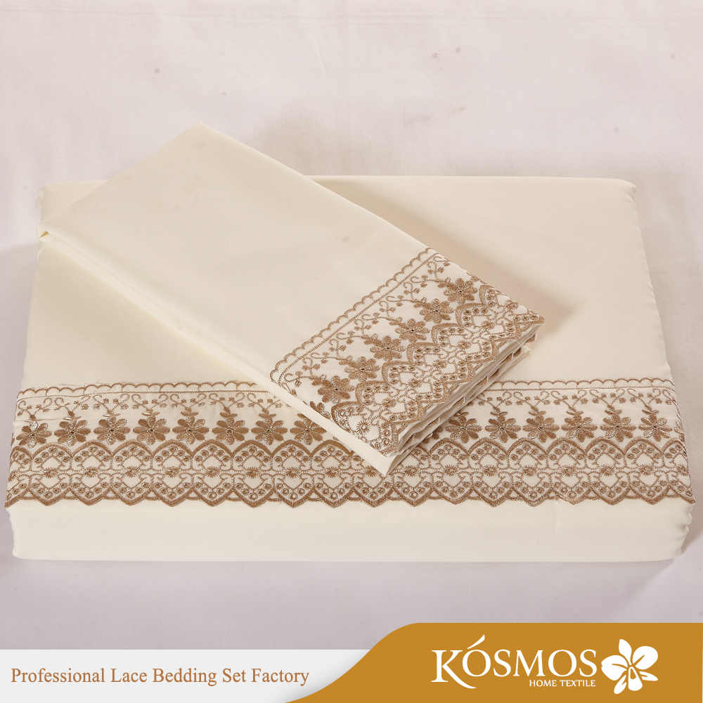 KOSMOS bedding set polycotton duvet cover sets lace embroidery bed sheets pictures