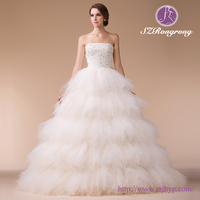 7A2997 Strapless Beaded Bodice Ruffled Skirt Ball Gown Cheap No Train Wedding Dress