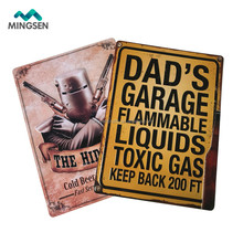 Dad's garage gas warning wall art hanging retro tin metal home sign
