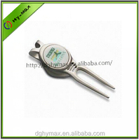 stamped logo golf divot tool with magnetic ball marker