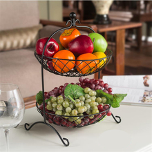 2015 fashion design storage stainless steel 2 tier fruit basket stand