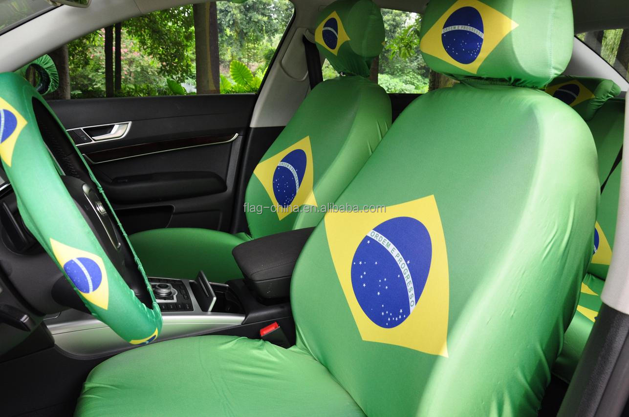 wholesale cheap polyester car head rest and seat cover for football fans