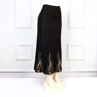 arabic long skirt gold embroidery plus size maxi skirt