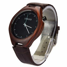 Vogue Colorful Leather Wrist Watches Men Custom Wood Watch