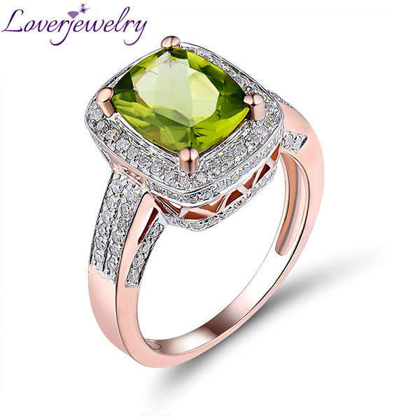 Hot! Solid 14Kt Rose Gold Diamond & Ravishing Peridot Ring Made By Guangzhou Loverjewlery Manufacturing R00122