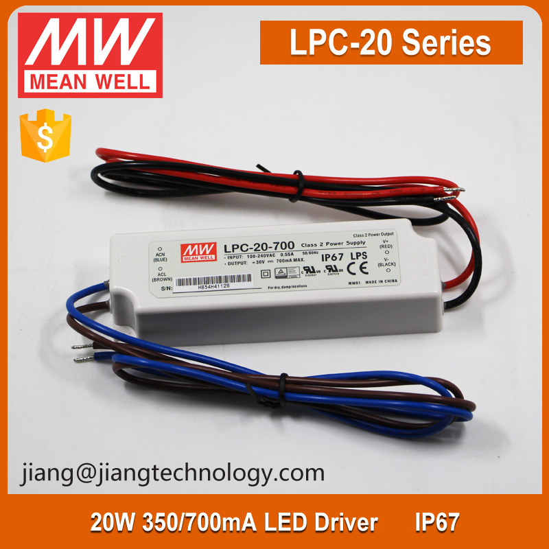 Mean Well 20W 350mA Constant Current LED Strip Driver IP67 Class 2 Plastic Case LPC-20-350