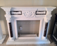 Stone fireplace, white stone fireplace, white marble fireplace