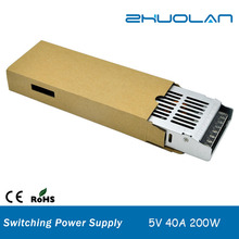 shenzhen ac to dc 5v 0-40a 200w ultra thin slim dc regulated switching power supply