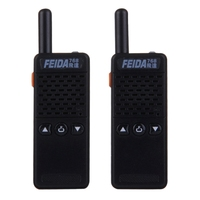 In Stock 2 PCS Mini 2.5W 16CH Professional Handheld Two-way Radio Walkie Talkie with Belt Clip, Talk Distance: 1km(Black)