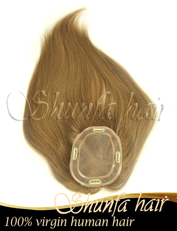 With clips color 8 Remy Hair Hair Grade high quality mono topper wig