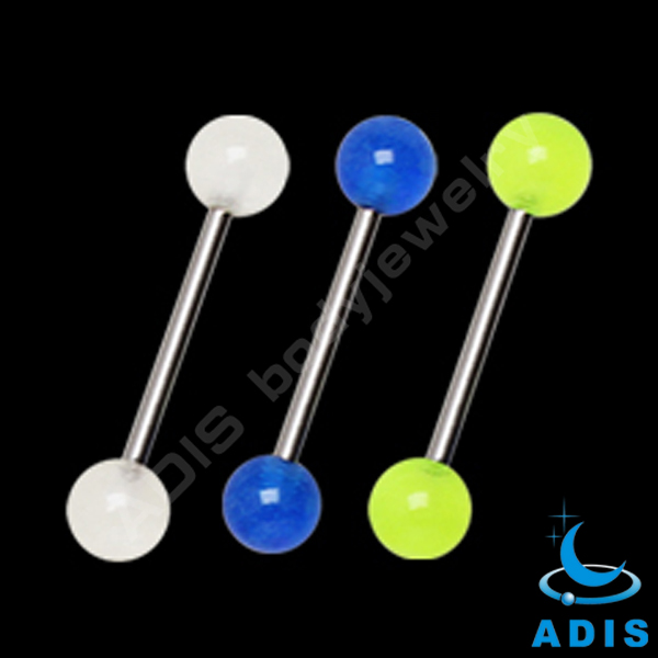 Cheap Wholesale barbell ring jewelry 14 gauge silicone ball tongue piercing