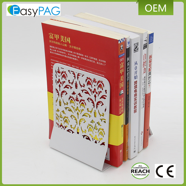 EasyPAG customized pattern design white color metal book end