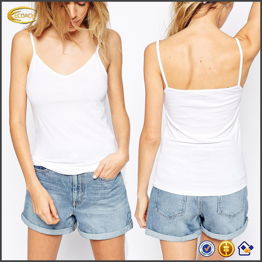 OEM wholesale clothing women images Strappy Cami Top 2 Pack V-neckline slim tube sexy lady top
