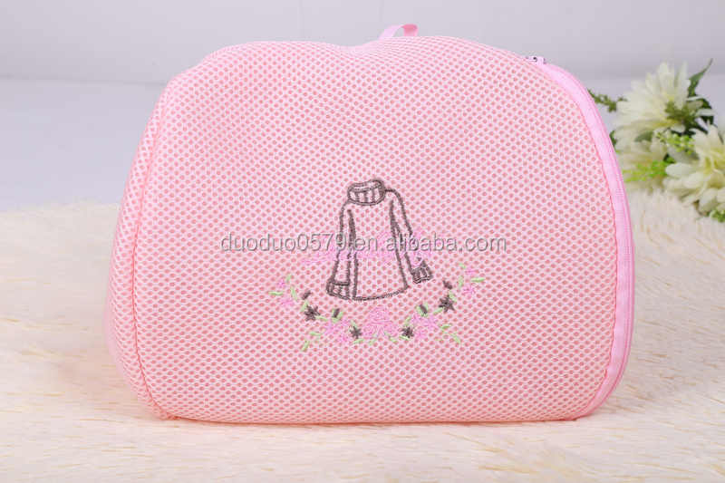 Cute doule layer embroidery laundry bag polyester mesh laundry bag