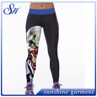 2016 unique printed polyester spandex joker yoga pants womens