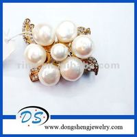 FACTORY PRICE! antique gold dollar hijab jewelry pearl brooch