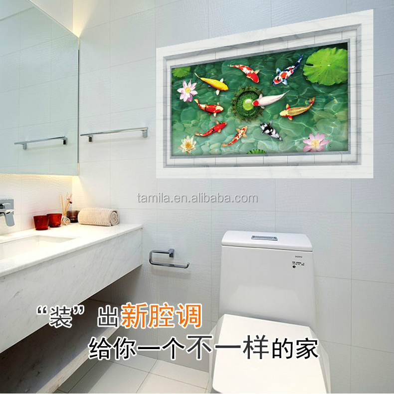 Home decor koi wall stickers bathroom kitchen wall tile for Koi home decor