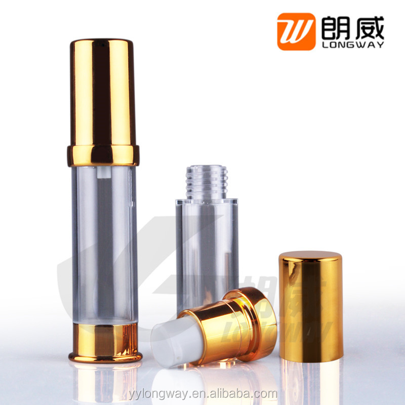 10ml Small diameter uv coating airless pump bottle/shinning gold airless botte/10ml eye cream airless dispenser