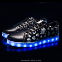 7 Colors Unisex Led Luminous Light Shoes Printed Skull head Men Women Fashion USB Light Led Shoes for Adult Eur 36-44